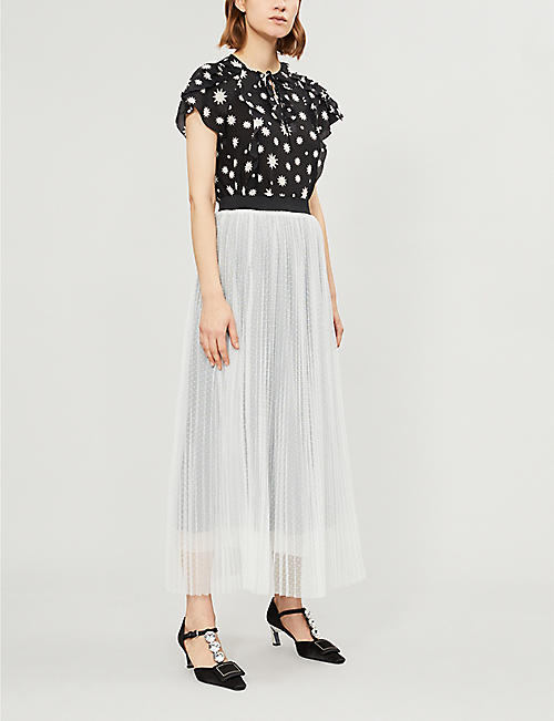 RED VALENTINO Frilled star-print silk-crepe top