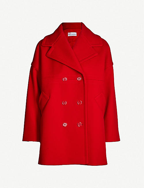 21e16185b9 RED VALENTINO Double-breasted cotton-blend coat
