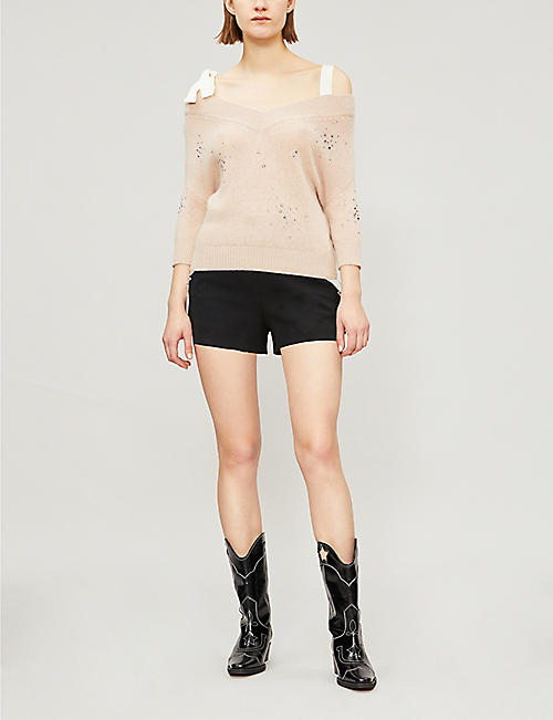 RED VALENTINO Embellished cold-shoulder wool jumper