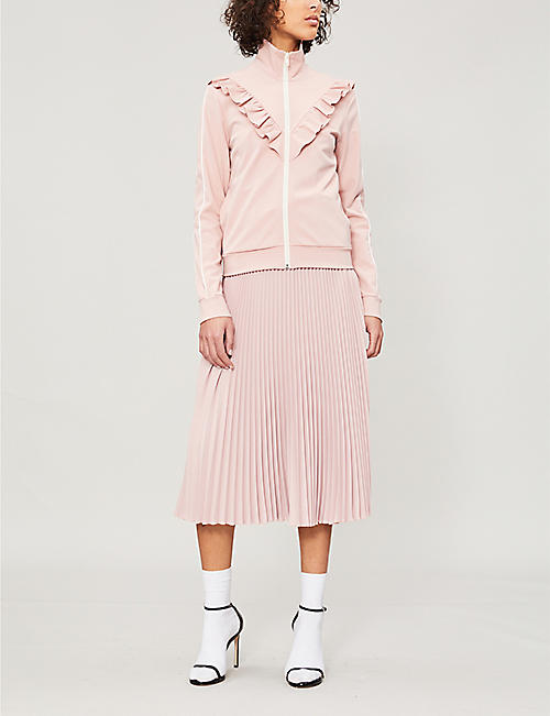 RED VALENTINO Ruffle-trim stretch-jersey track jacket