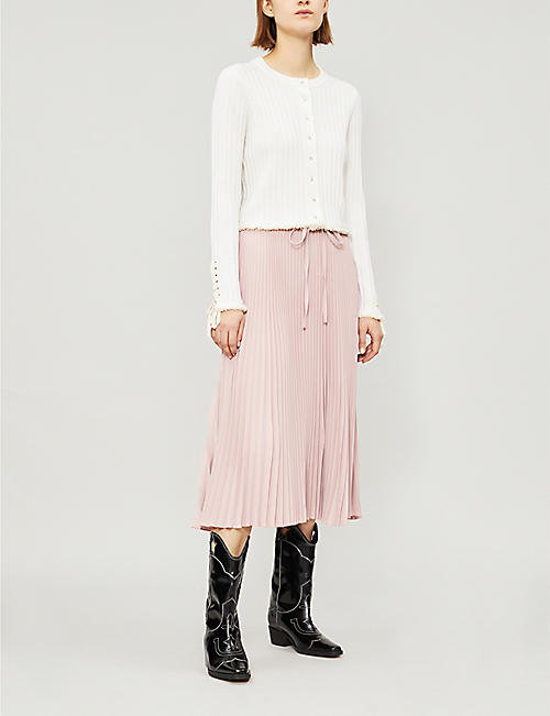 RED VALENTINO Pleated stretch-crepe midi skirt