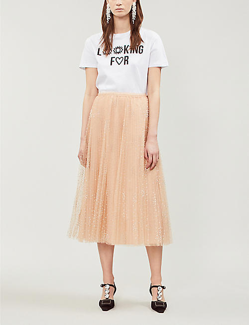 RED VALENTINO Polka dot mesh midi skirt