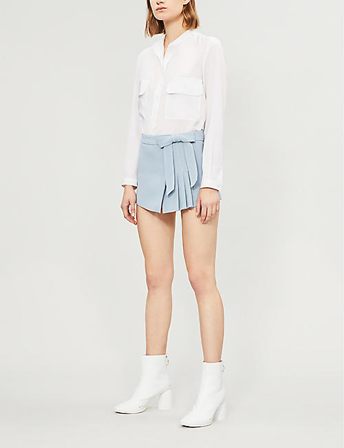 RED VALENTINO Bow-detail pleated silk-crepe shorts