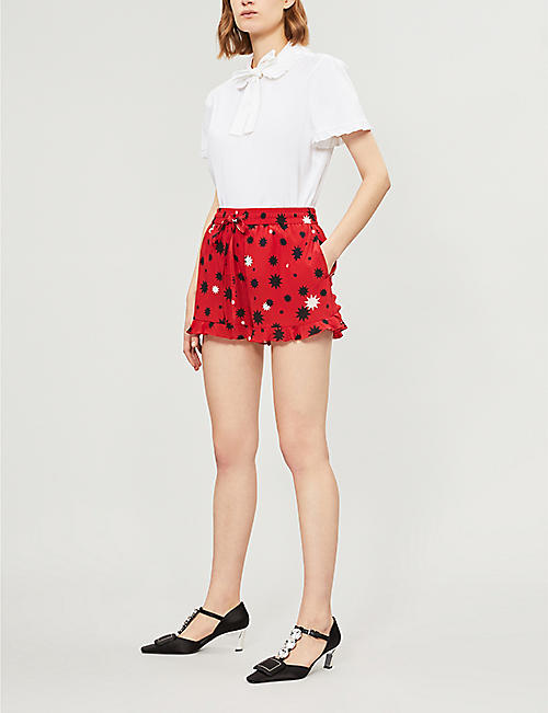 RED VALENTINO Frilled star-print silk-crepe shorts