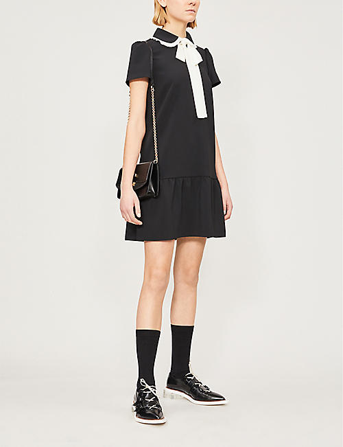 RED VALENTINO Neck-tie crepe mini dress