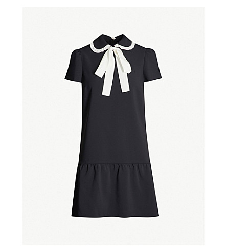 33b59b68d8b7d RED VALENTINO Neck-tie crepe mini dress (Black ivory