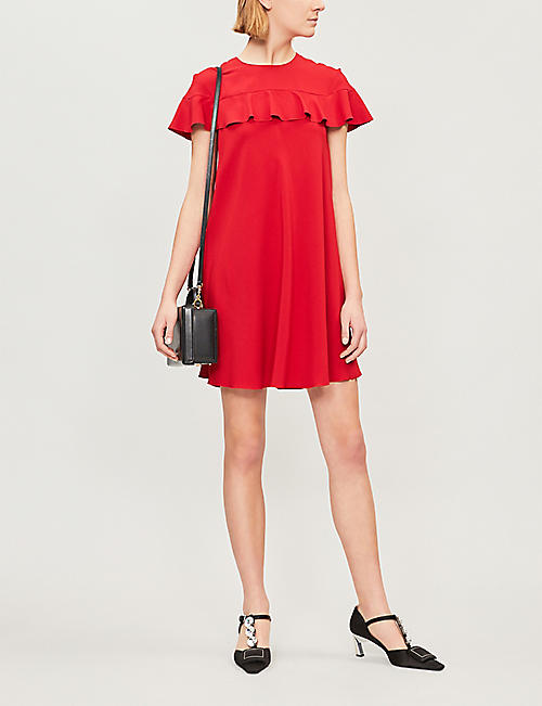 RED VALENTINO Ruffled-trim crepe dress