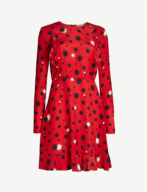 990ad2aee6 RED VALENTINO Star-print ruffled-trimmed silk-crepe dress