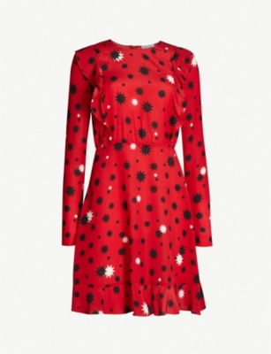 RED VALENTINO Star-print ruffled-trimmed silk-crepe dress