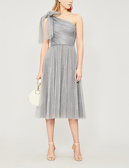 RED VALENTINO One-shoulder bow-adorned glittered tulle dress