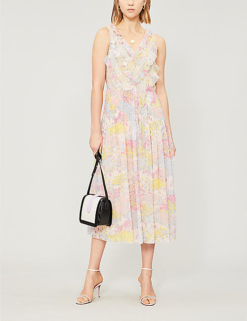 RED VALENTINO Ruffle-trimmed floral-print crepe dress