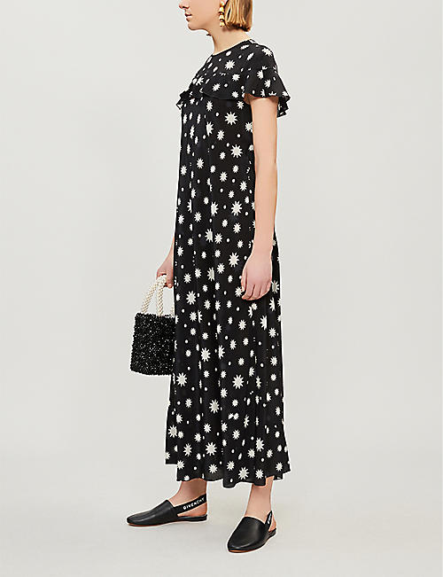 RED VALENTINO Star-print silk midi dress