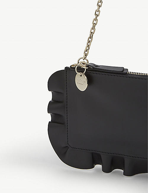 RED VALENTINO Ruffled leather pouch
