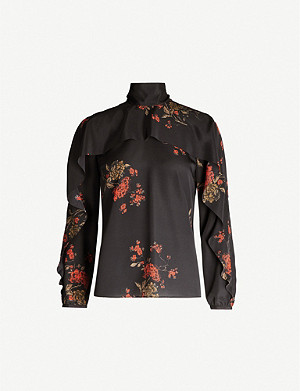 RED VALENTINO Floral-print high-neck flared-trim crepe top