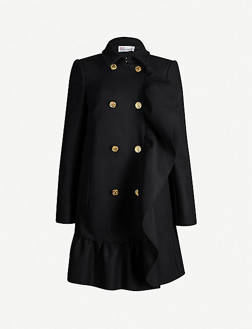 RED VALENTINO Double-breasted ruffled wool-blend coat