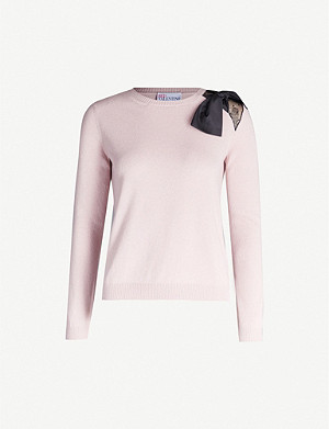 RED VALENTINO Bow-embellished round-neck woven jumper