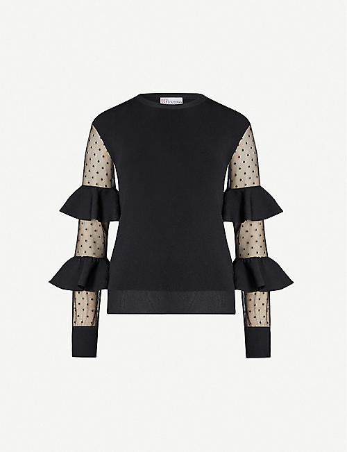RED VALENTINO Polka dot-sleeve woven top