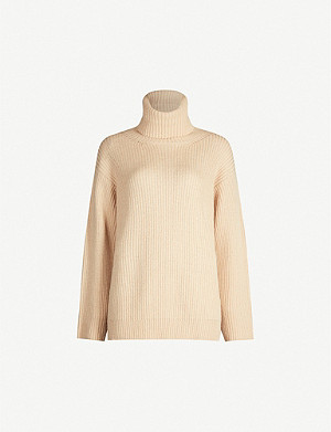 RED VALENTINO Text-intarsia oversized turtleneck wool jumper