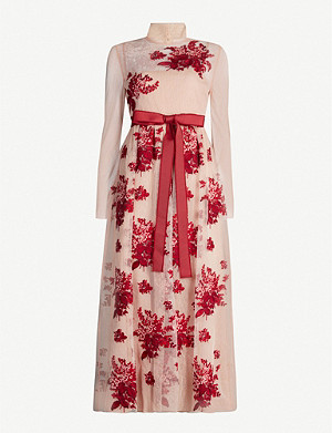 RED VALENTINO Floral-embroidery high-neck tulle midi dress