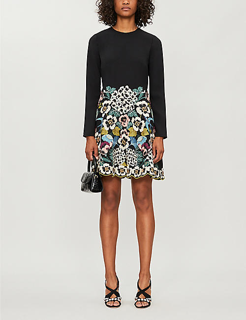 RED VALENTINO Floral-embroidery A-line stretch-crepe dress