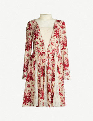 RED VALENTINO Floral-print lace-insert silk-crepe mini dress