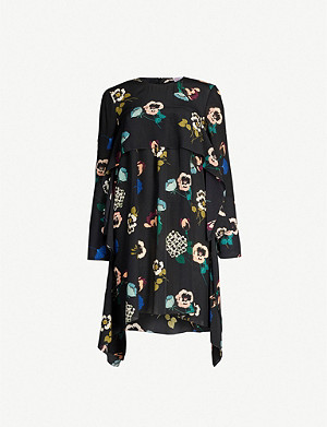 RED VALENTINO Floral-print silk-crepe de chine mini dress