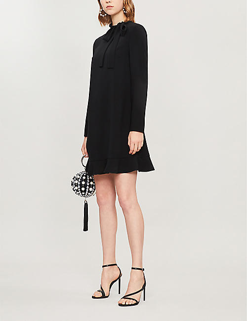 RED VALENTINO Ruffled high-neck crepe mini dress