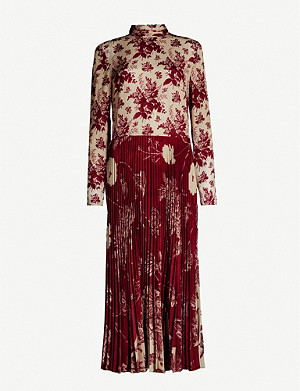 RED VALENTINO Floral-print silk-blend midi dress