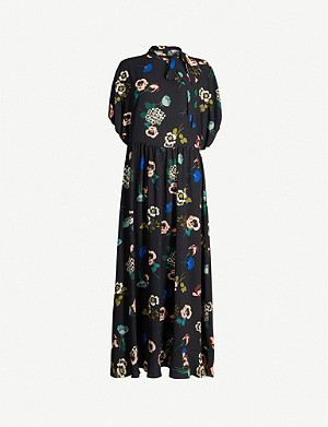 RED VALENTINO Tied-neck floral-print stretch-crepe midi dress