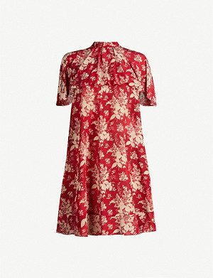 RED VALENTINO High-neck layered floral-print silk mini dress