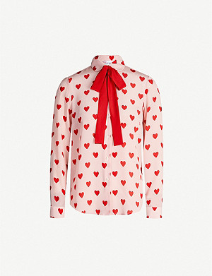 RED VALENTINO Heart-print silk top