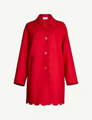 RED VALENTINO Scallop-trimmed single-breasted wool-blend coat