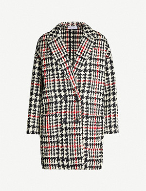 RED VALENTINO Checked double-breasted tweed coat