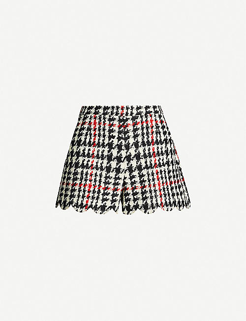 RED VALENTINO Fitted wool-blend tweed shorts