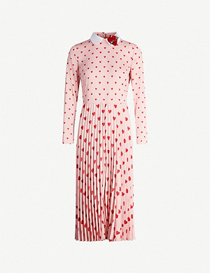 RED VALENTINO Heart-print pleated crepe midi dress