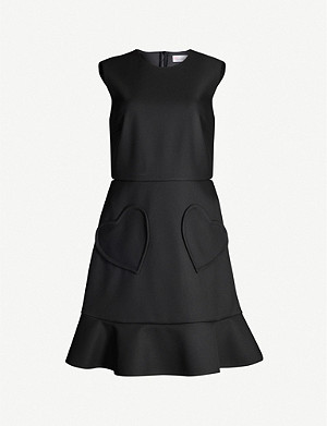 RED VALENTINO Ruffled sleeveless twill dress