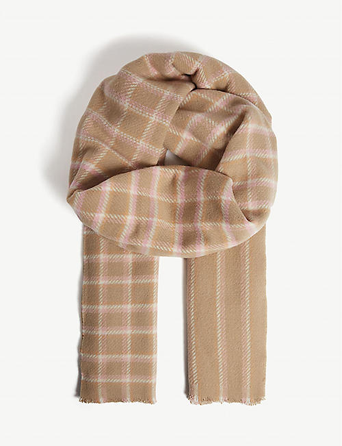 810056d407f ACNE STUDIOS - Cassiar check stripe cashmere scarf | Selfridges.com