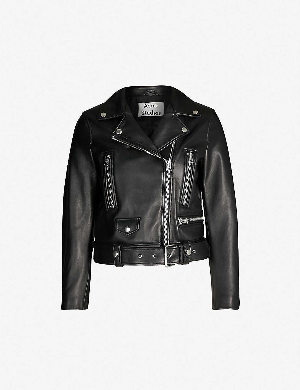 1b7b80039d49c ACNE STUDIOS - Mock cropped leather biker jacket   Selfridges.com