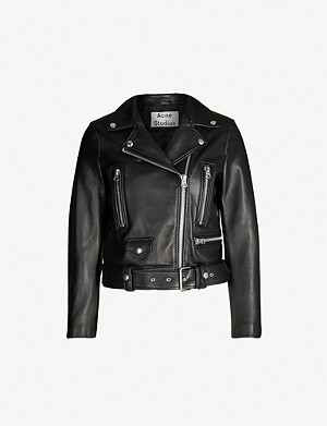 ACNE STUDIOS Mock cropped leather biker jacket