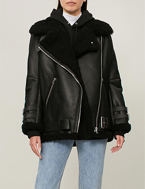 e73f6bd1f30a3 ACNE STUDIOS - Velocite shearling and leather aviator jacket ...