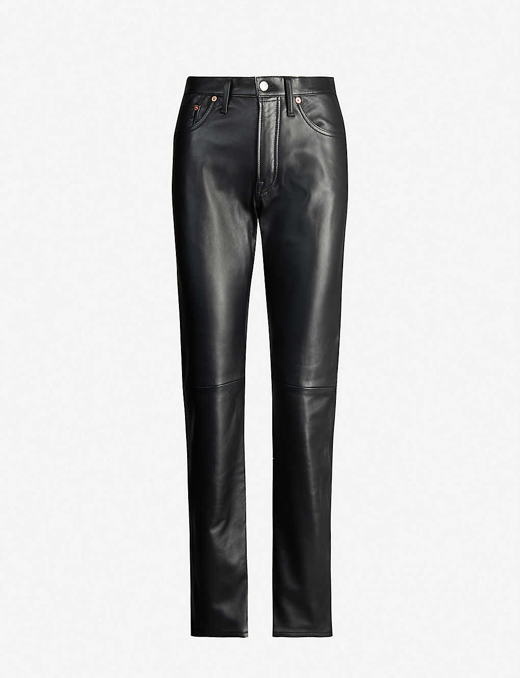Acne Studios Pants High-rise straight-cut leather trousers