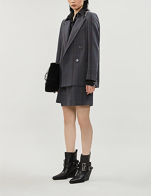ACNE STUDIOS Itzelle high-waist checked wool and cotton-blend mini skirt