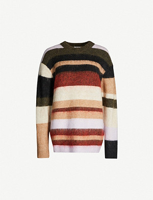 ACNE STUDIOS Kalbah oversized round-neck striped knitted jumper