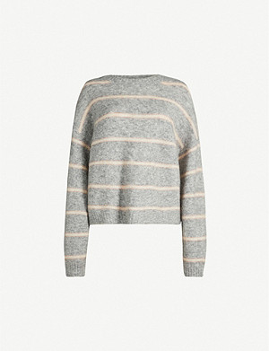 ACNE STUDIOS Khira striped wool and mohair-blend jumper