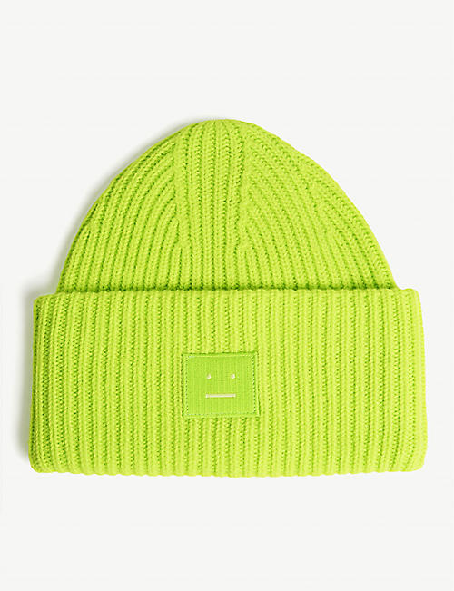 21a5be36d05997 ACNE STUDIOS Pansy Face oversized knitted wool beanie