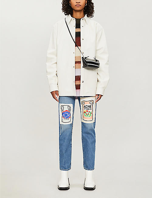 ACNE STUDIOS Ceramic-patch cropped high-rise jeans