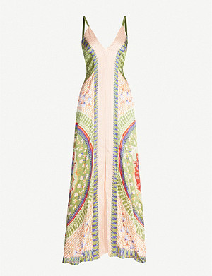TEMPERLEY LONDON Arabesque printed hammered-silk maxi dress