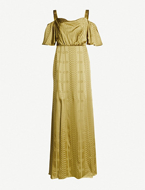 TEMPERLEY LONDON Erika cold-shoulder satin-jacquard maxi dress