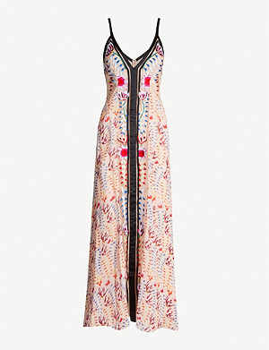 TEMPERLEY LONDON Rosy grosgrain-trimmed embroidered crepe maxi dress