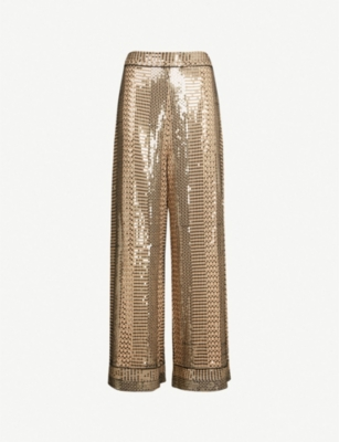 TEMPERLEY LONDON High-rise sequinned wide-leg trousers